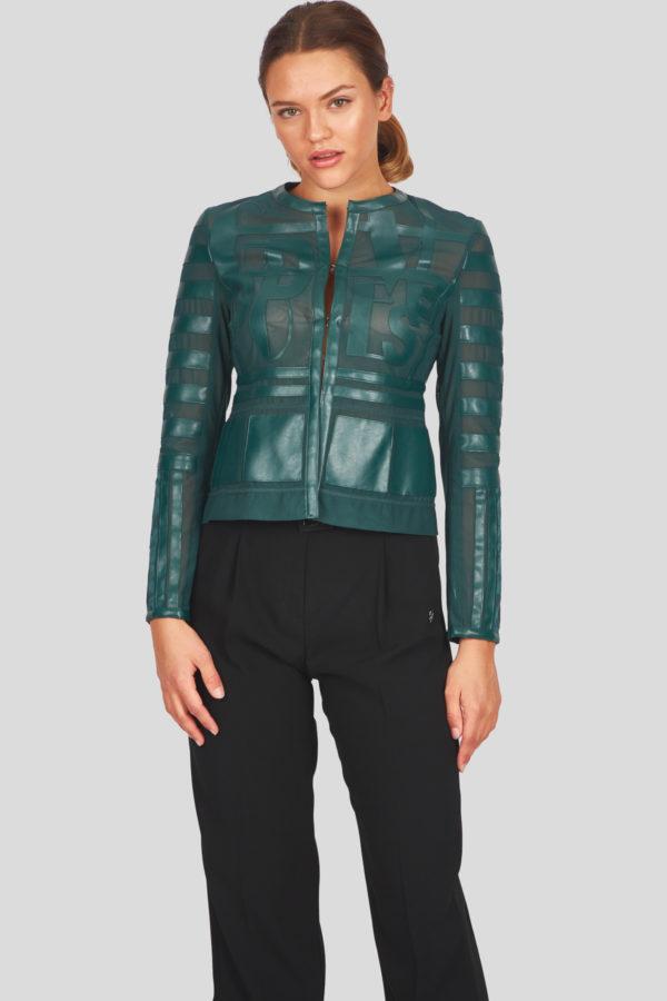 Женская куртка Sportalm из искусственной кожи зеленый - фото 6