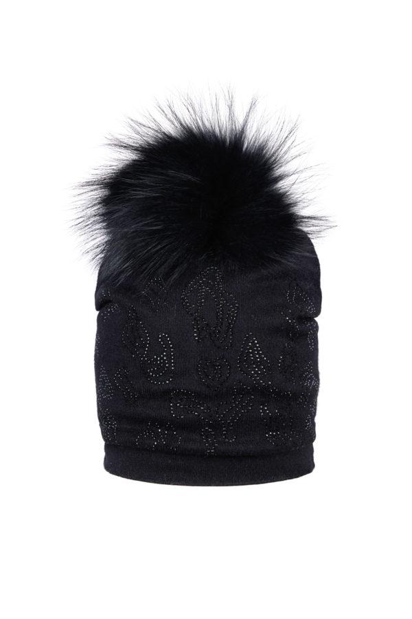 Женская шапка с меховым помпоном - фото 1