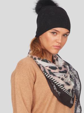 Женская шапка с меховым помпоном - фото 8