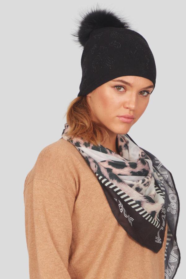 Женская шапка с меховым помпоном - фото 2