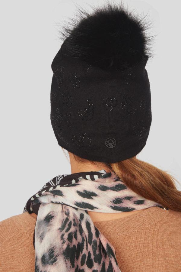 Женская шапка с меховым помпоном - фото 5