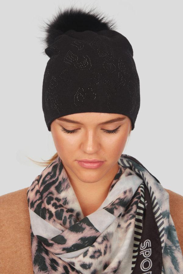 Женская шапка с меховым помпоном - фото 3